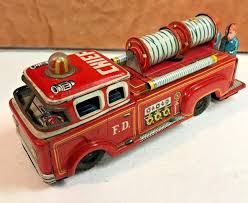 100 Antique Toy Fire Trucks Vintage Friction Tin Truck Yonezawa Made In Japan 1960s