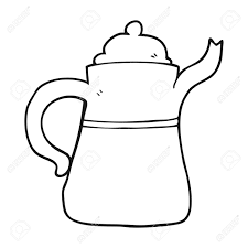 Freehand Drawn Black And White Cartoon Coffee Pot Stock Vector