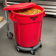 Trash Cans Bed Bath Beyond by Rubbermaid Brute 20 Gallon Red Trash Can With Lid And Dolly Bed