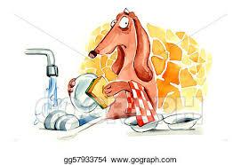 Dog Washing The Dishes