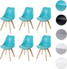 mendler 6x esszimmerstuhl hwc e53 stuhl küchenstuhl retro design türkis türkis kunstleder helle beine