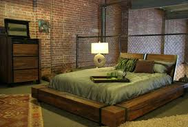 Industrial Chic Wood Platform Bed Bedroom Other Furniture