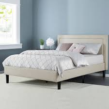 King Platform Bed With Upholstered Headboard by Priage Upholstered Detailed King Platform Bed With Wooden Slats