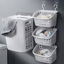 myjzy an der wand befestigter wäschekorb 3 abschnitte wand hängender wäschekorb tragbarer wäschesack der schmutzigen kleidung im badezimmer