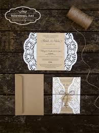 Gorgeous Rustic Wedding Invitations Printed On Kraft Card Finished Off With Rose Paper Doilies Twine