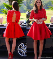 2015 short red graduation dresses short sleeves vintage high neck