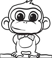 Cute Cartoon Animals Coloring Pages 20 Monkey Page 2