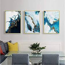 generic abstrakte farbe splash blau gold leinwand malerei poster und druck einzigartige dekorative wandkunst bild für wohnzimmer schlafzimmer 50x70 cm