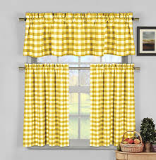 Amazon Yellow Kitchen Curtains by Amazon Com 3 Piece Plaid Checkered Gingham 35 Cotton Kitchen