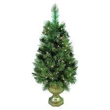 4ft Pre Lit Artificial Christmas Tree Slim Porch Pot Gold Tip Pine