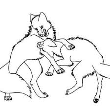Wolf Fighting Coloring Page