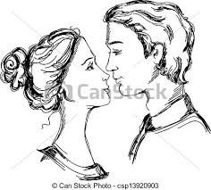 Sketch Of Loving Couple Man And Woman Are Looking At Each Other And