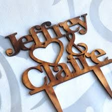 Aliexpress Buy Rustic Heart Wedding Cake Topper Personalized Bride And Groom Names Custom Wood From Reliable