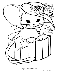 Cat Coloring Pages Letscoloringpages Cute With Hat