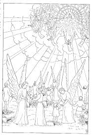 Angels Playing With Kids While Second Coming Of Jesus Christ Coloring Page Download Free PPT Template