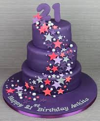 N1557 · Purple Birthday Cake with Stars No