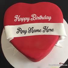 Heart Red Velvet Cake For Lover Birthday Wish With Name