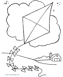 Girl Flying Kite Colouring Pages Page 2