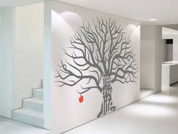Wall Art Ideas Design Grey Tree Decor Large Stickers Contemporary Red Apple Hanging Incorporating Unique Painted Wonderful