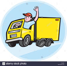 100 Delivery Truck Clipart Driver Waving Cartoon Stock Photo 103051261 Alamy