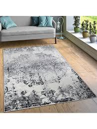 paco home designer teppich wohnzimmer teppiche ornamente vintage optik schwarz weiß klingel