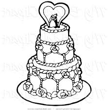 Clipart A Coloring Page A Black And White Tiered Wedding Cake