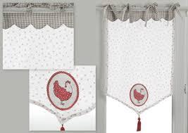 rideau de cuisine brise bise brise bise vichy gris à nouettes en organdi motif cœur et poule rou