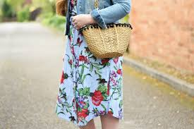 zara floral print gingham tunic dress with trainers jacquardflower