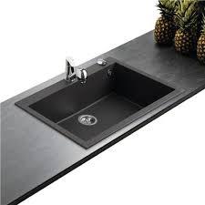 evier cuisine 1 bac évier en granit noir moucheté 1 grande cuve 79 4x50 4cm