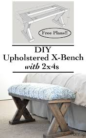 DIY Upholstered X Bench Using 2 4 Boards With Plans