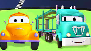 100 Trucks Cartoon Tom The Tow Truck With The Car Carrier And Their Friends In Car City