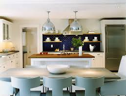 View In Gallery Beach Style Kitchen With A Lovely Blue Backsplash