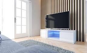 fano tv lowboard tv schrank weiß hochglanz fronten led 140 cm esa home