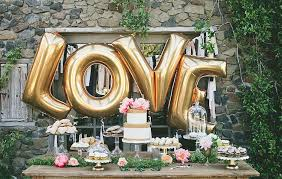 Outdoor Gold Letter Wedding Ballon Decorations With Small Wooden Table And Two Layered Cake