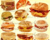 Sandwich Clipart Croissant Digital Toast Ham Cheese Bacon Egg Turkey Bagel Muffin Donut Images Graphics