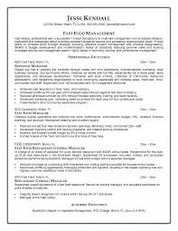 Fast Food Manager Resume