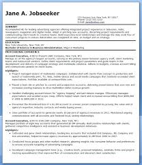 Advertising Agency Resume Sample Account Executive Ad