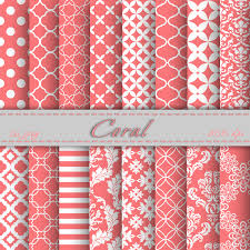 Coral Digital Paper Scrapbooking Papers Patterns Backgrounds Printable For Personal Or Commercial Use