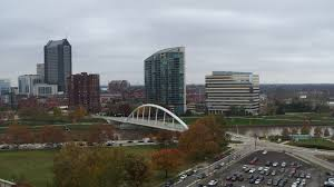 100 Miranova Condos 57K Stock Footage Aerial Video Riverfront Condo Complex And Office Building By Bridge And River Downtown Columbus Ohio Aerial Stock Footage
