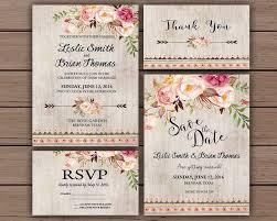 Floral Wedding Invitation Printable Boho Chic Suite Bohemian Invite Rustic Spring
