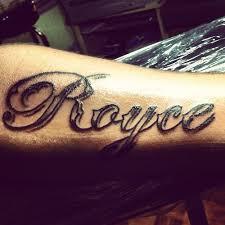 Bold Script Name Tattoo