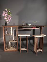 Narrow Walnut Bar With Cabinet Open Tiger Maple Display Shelving Minimalist Modern