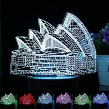 Sydney Opera House 7 Color 3d Led Desk Table Lamp Touch Switch