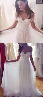 Simple Elegant Off Shoulder Beach Wedding Dresses 2017 Floor Length With Appliques Cheap Dress