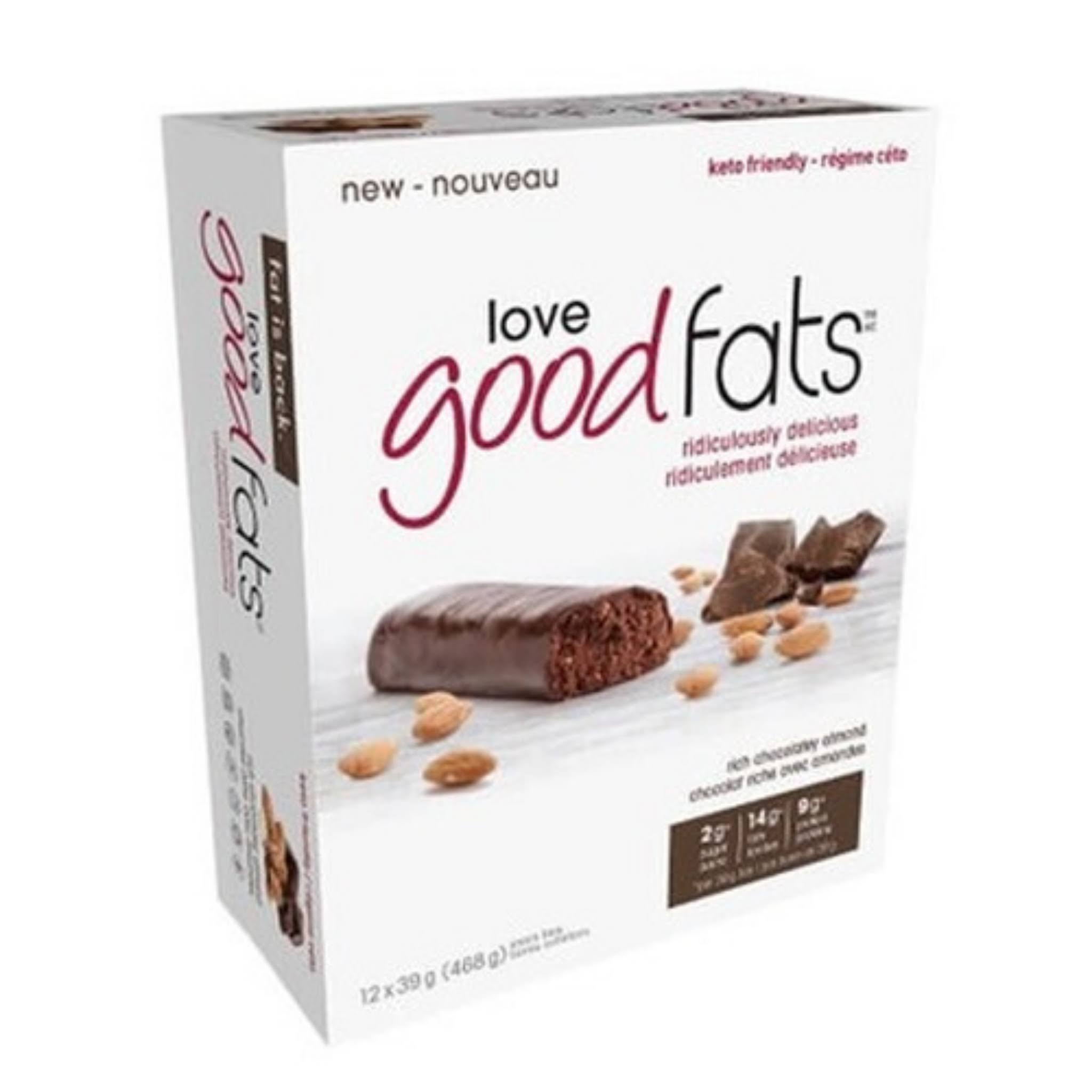 Love Good Fats Chocolate Almond Snack Bar 12ct, 39 Gr