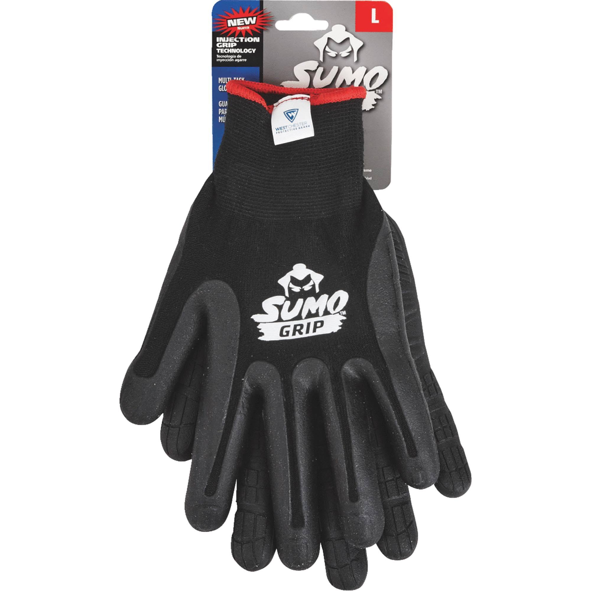West Chester Protective Gear Sumo Grip Thermoplastic Rubber Coated Glove - Black, Large