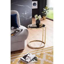 wohnling beistelltisch leona ø 45 cm couchtisch schwarz matt gold glastisch sofatisch metalltisch wohnzimmer