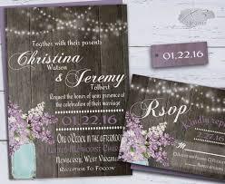 Rustic Wedding Invitation Country Mason Jar Invitations String Lights Purple Spring Lilacs