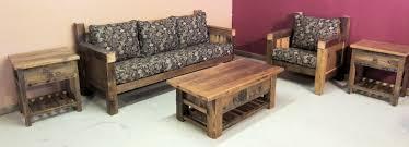 Rustic Wood Living Room Set Reclaimed Sofa Wooden