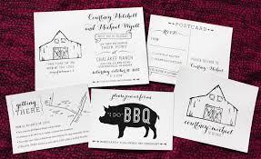 Black Cream Rustic Barn BBQ Modern Poster Style Wedding Invitations